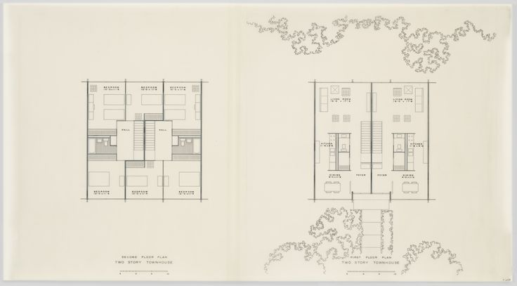 Ludwig Mies van der Rohe. Pavilion Apartments and Town Houses, Lafayette Park, Detroit, MI, Plans (Two-story town houses. Second and first floors.). 1955-1963