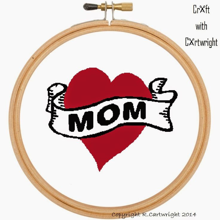 Craft with Ruth Cartwright: Free Mothers day cross stitch Mom Tattoo PDF chart...