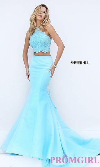 Long Halter Two Piece Mermaid Style Sherri Hill Prom Dress at PromGirl.com