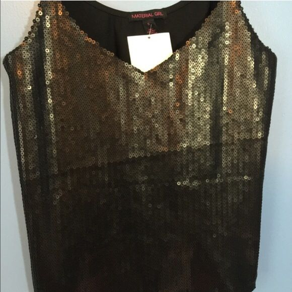 Material Girl Sequin Tank Top NEWSmall Material Girl Sequin Tank Top. Front outlay are 100% polyester. Balance of garment 95% polyester. 5% spandex. Hand wash. Line dry. Sinkwich front. Retail price $59.50. Made in China. Material Girl Tops Tank Tops