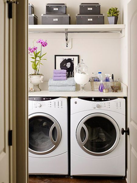 Better Homes and GardensDecor,  Automatic Washer, S'Mores Bar,  Wash Machine, Laundry Closets, Room Ideas, Laundry Area, Laundry Rooms, Laundryroom