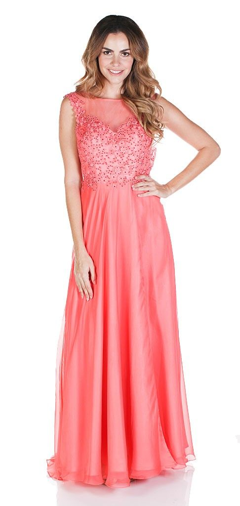 Clarisse 2532 Sparkling Applique Evening Gown $65 Rental Pink Prom Dress, Pink Bridesmaid Dress, Coral Prom Dress, Coral Bridesmaid Dress, Chiffon Gown, Open Back Gown, Lace Bodice