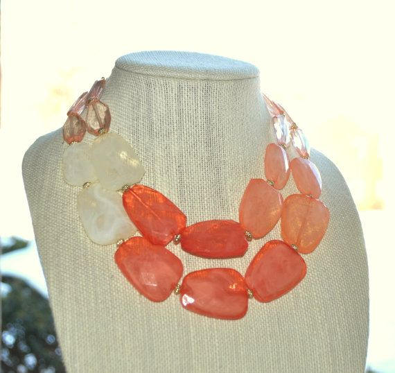 Coral Peach necklace set Double strands by Valentinaccesories