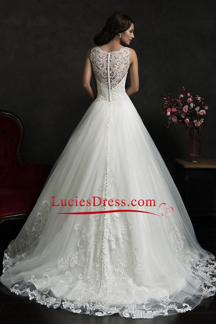 2016 Bateau Wedding Dresses A Line Tulle With Applique