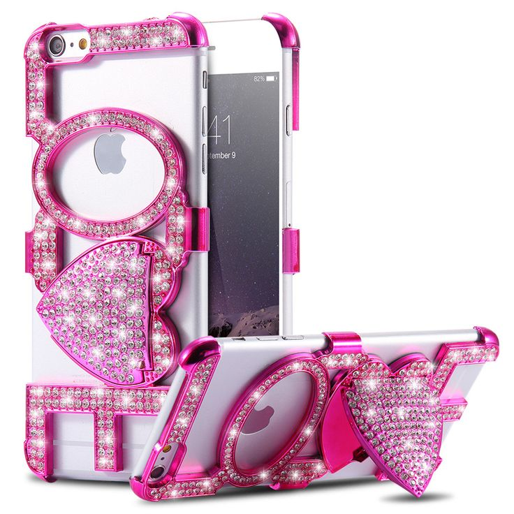 Luxury Rhinestone Kiss Love Stand Case For iPhone 6 6S 4.7& 6 6s plus 5.5
