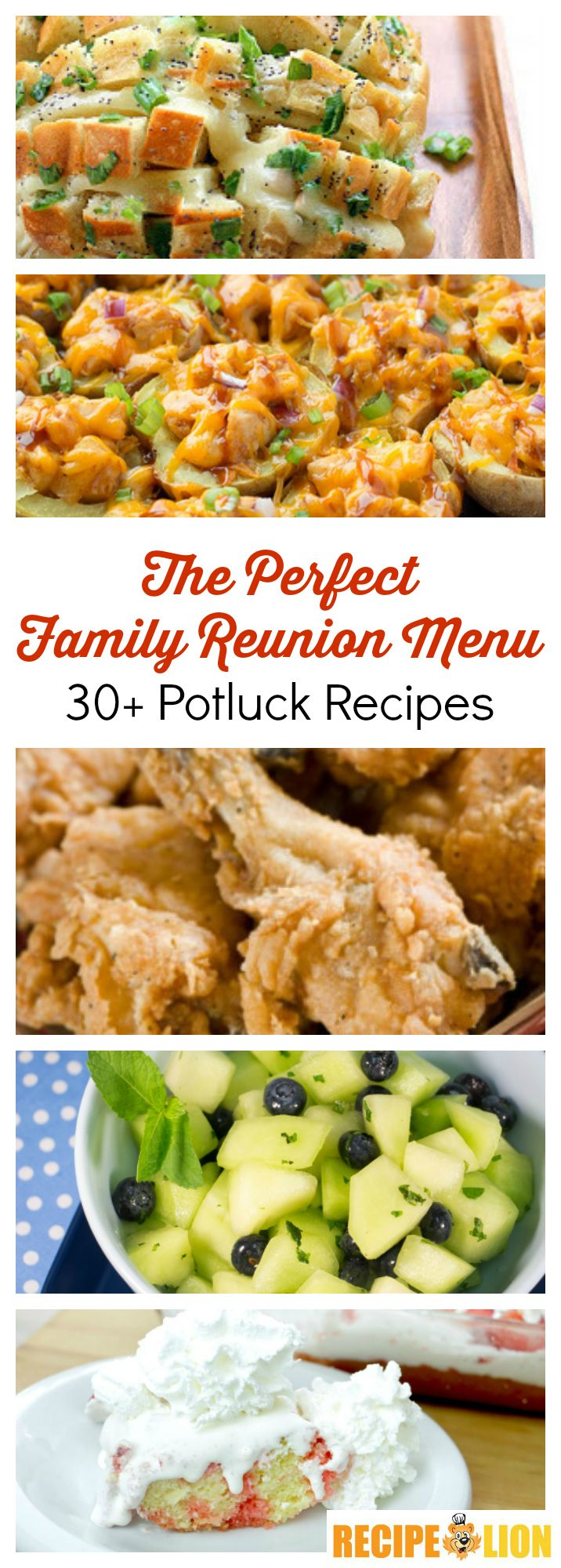 These potluck recipes are perfect for family reunions, barbecues, picnics, and more! (The fried chicken and pull apart bread recipes are especially tasty!)