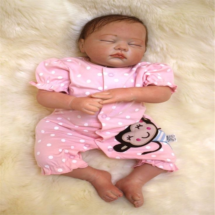 98.79$  Watch here - http://ali83j.shopchina.info/1/go.php?t=32729192519 - 19 inch 49 cm Silicone baby reborn dolls, lifelike doll reborn Cute pink piece of clothing to sleep baby  98.79$ #buyininternet