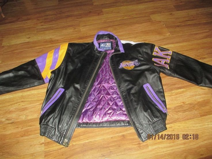 Los Angeles Lakers Leather Jacket Xl 1990's Jacket La Lakers Jacket Starter from $70.0
