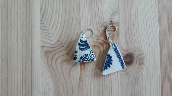 Cute ceramic blue earrings made by India with our Silver earring hooks 1224 https://www.etsy.com/listing/261616502/1224silver-earring-hook-17x10-mm-silver?ga_search_query=1224&ref=shop_items_search_1