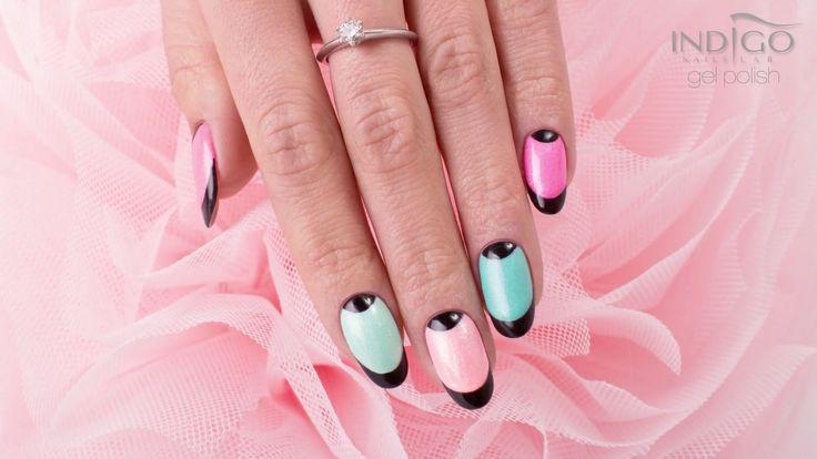 Paznokcie na lato :: Black french Indigo Nails :: Pastelowe paznokcie ::...