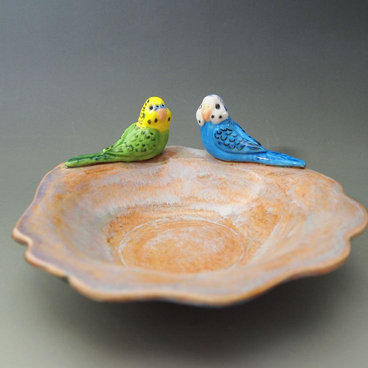Two little budgies on guard on this hand formed trinket dish