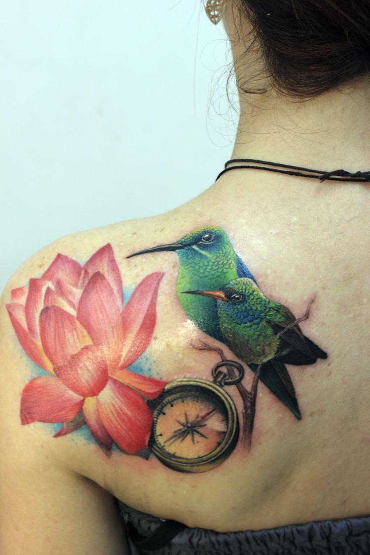 De colibri en la espalda significado tatuaje colibri tatuaje tattoo - Tatuaje Colibri Brujula