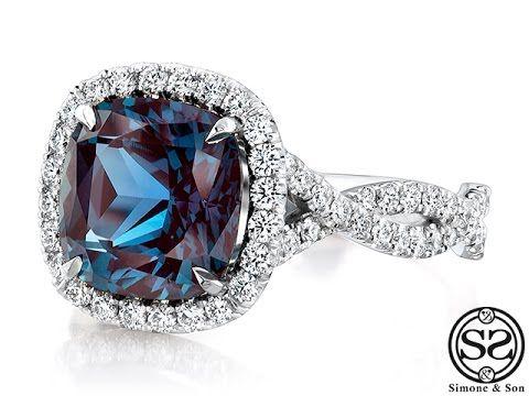 White Gold Alexandrite Halo Engagement Ring - YouTube