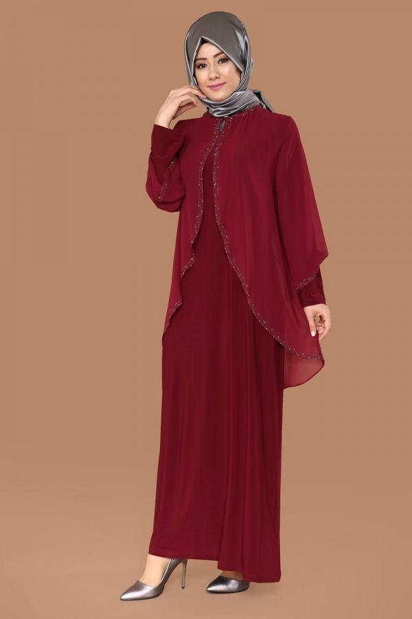 Üstü Şifon Taşlı Elbise Bordo Ürün kodu: SMT1007 --> 129.90 TL
