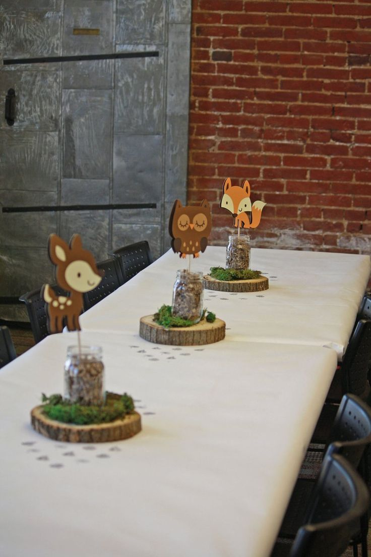 Woodland Baby Shower Decoration – 5 Woodland Animal Centerpiece Stakes – Woodland Party – Woodland Birthday – Forrest Animal Stakes Only