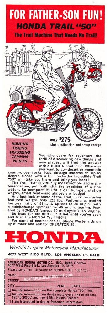 Vintage Honda Motorcycle Ad... Honda Trail 50...