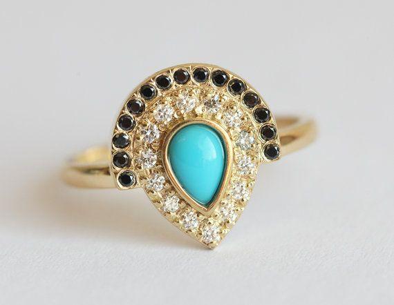 Turquoise bague de fiançailles bague de fiançailles par MinimalVS