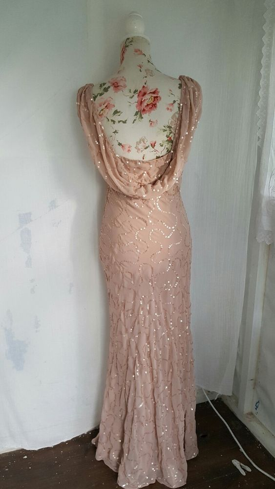 Vtg 1920,s 30's style Gatsby nude pink sequin long flapper wedding dress size 10 #Boohoo #20s #Formal
