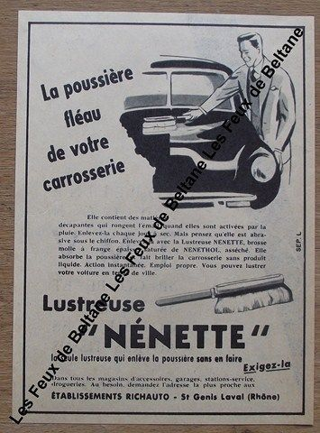 publicit ancienne lustreuse nenette pour voiture 1955 clipping advert ann es 1945 1970. Black Bedroom Furniture Sets. Home Design Ideas