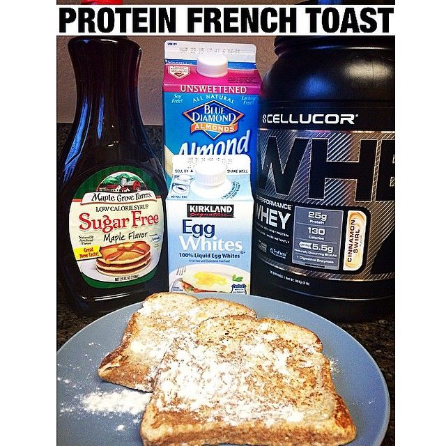 Protein French Toast! So simple. I just whisked together egg whites, almond milk, a hint of stevia and @cellucor Cinnamon Swirl protein powder (which tastes like the cereal Cinnamon Toast Crunch!  Use my code:MCKENZIE for 25% off). Dip your bread. (I used Sara Lee 45 calorie)Throw it on the frying pan. Then top with sugar free syrup!! #cellucor #proteinfrenchtoast