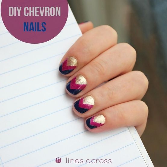 """""""Lines Across"""": DIY Chevron Nails - I love the color combo!"""
