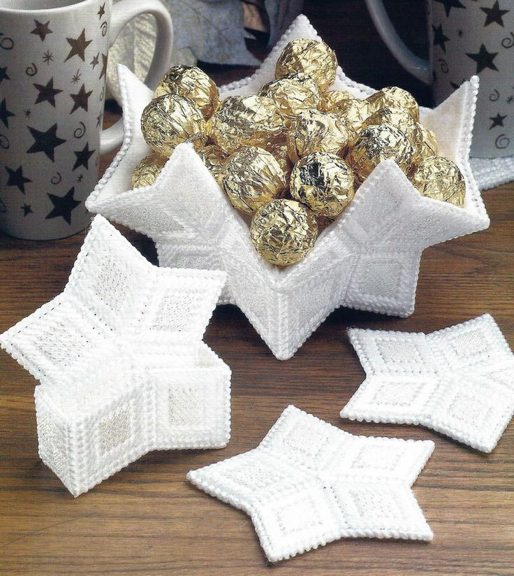 free star plastic canvas patterns   Plastic Canvas Pattern Only Star Coasters and Bowl Very Pretty   eBay