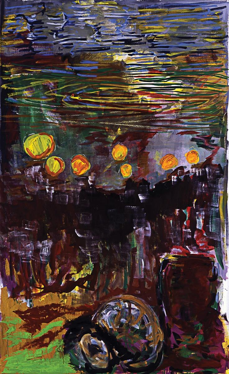 Per Kirkeby: Zonder titel - Weerspiegelend licht op bewegend water? Kirkeby wilde er niet veel over los laten. What you see is what you get; een schitterende dynamische compositie met een subliem gevoel voor kleur. Lijn en vlak wisselen elkaar op een gebalanceerde wijze af en maken zo een meesterwerk.
