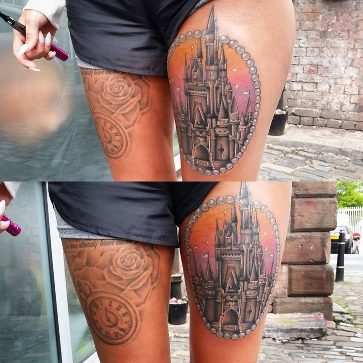 Zoe Lorraine Tattoos ♡ 23, Manchester  Tattoo Artist Very swollen Disney castle from today! Lines are healed everything else done today! Fireworks next time!