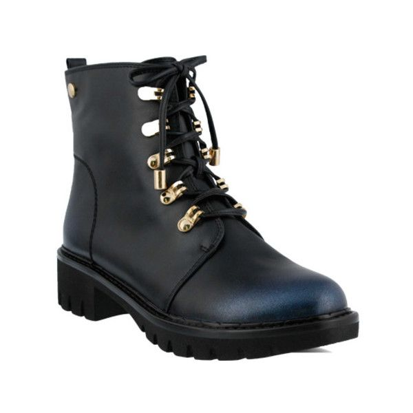 Women's Azura Sarik Combat Boot ($85) ❤ liked on Polyvore featuring shoes, boots, ankle booties, ankle boots, blue, faux-fur boots, military boots, round toe boots, zipper combat boots and lace up boots