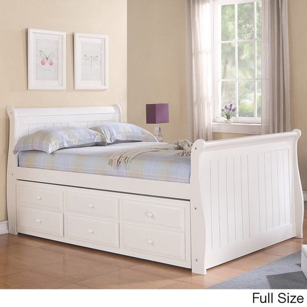 Sleigh Captain's Twin or Full Bed with Trundle and Storage from CustomKidsFurniture.com
