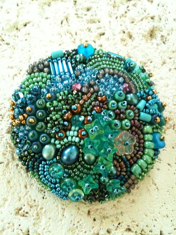 Bead Embroidery Button - Took this wonderful class from Robin Atkins.