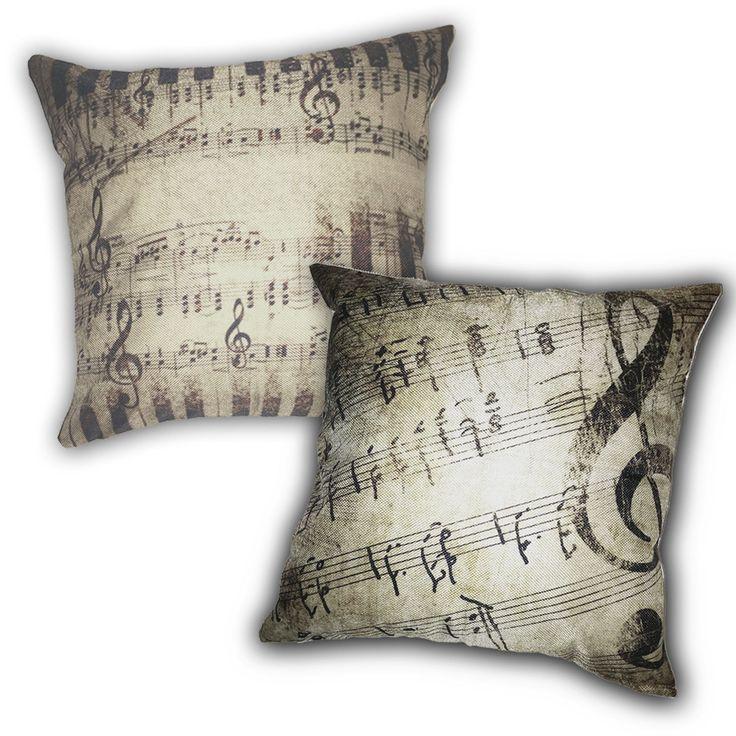 2 Piece Rustic Sheet Music 100% Cotton Throw Pillow Set