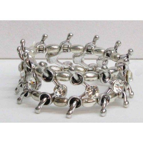 Bracelet élastique de couleur argent serti de cristaux clairs.