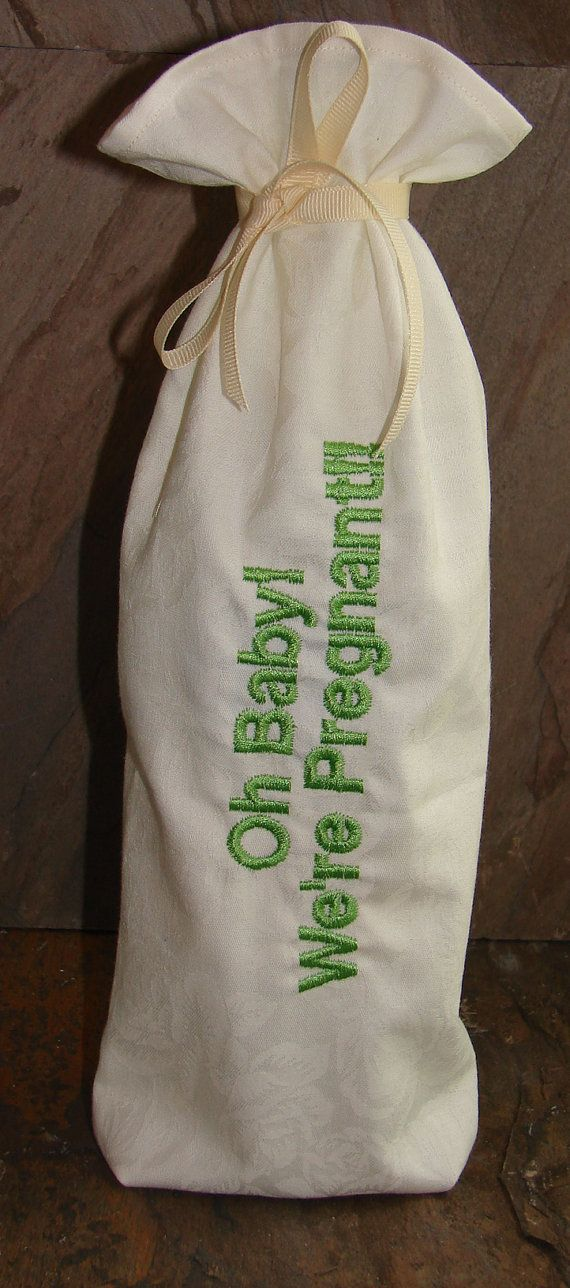 Oh Baby We're Pregnant Announcement Wine Gift Bag, on Etsy, $9.95