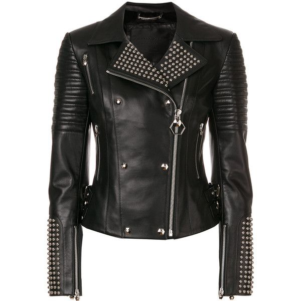 Philipp Plein Marlene biker jacket ($3,510) ❤ liked on Polyvore featuring outerwear, jackets, black, studded jackets, zip front jacket, philipp plein, motorcycle jacket and studded biker jacket
