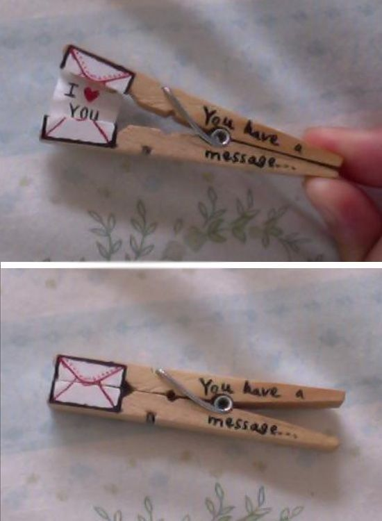 Clothespin Love Message | Click Pic for 44 DIY Valentine Gifts for Him | DIY Valentine Gifts for Boyfriend: