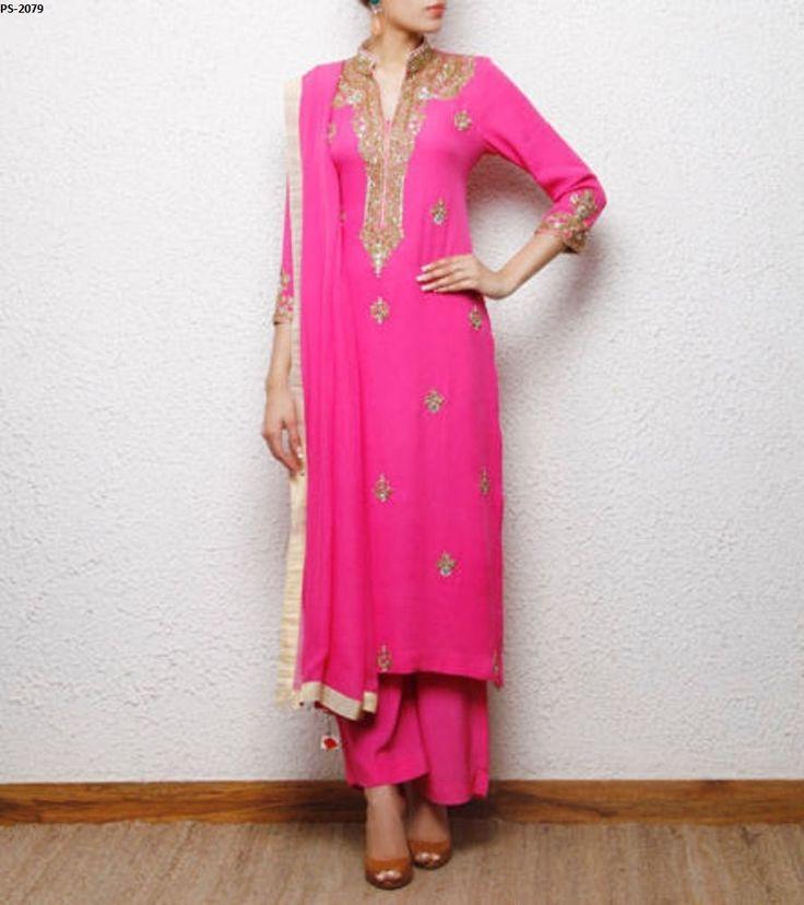 Hand Embroidery bodice Salwar Kurta Plus Size Georgette Dress Indian PS-2079 #EthnicDresses #SalwarKameez