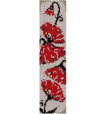 Schema peyote Papaveri rossi Art Deco style  (pdf per bracciale) di AntosCreations su Etsy