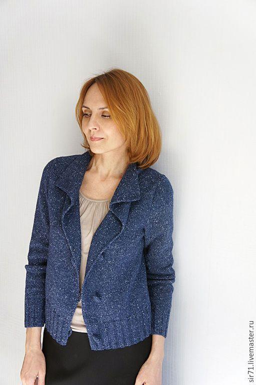 Купить Жакет твидовый - тёмно-синий, однотонный, на каждый день, на застежке, на заказ, удобная одежда