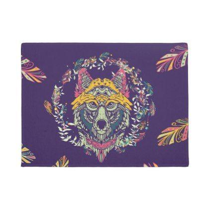 #Colorful Tribal Wolf Dreamcatcher Doormat - #doormats #home & #living