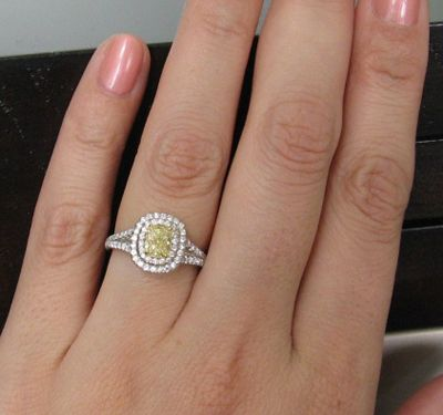 double halo yellow diamond ring - Yellow Diamond Wedding Rings