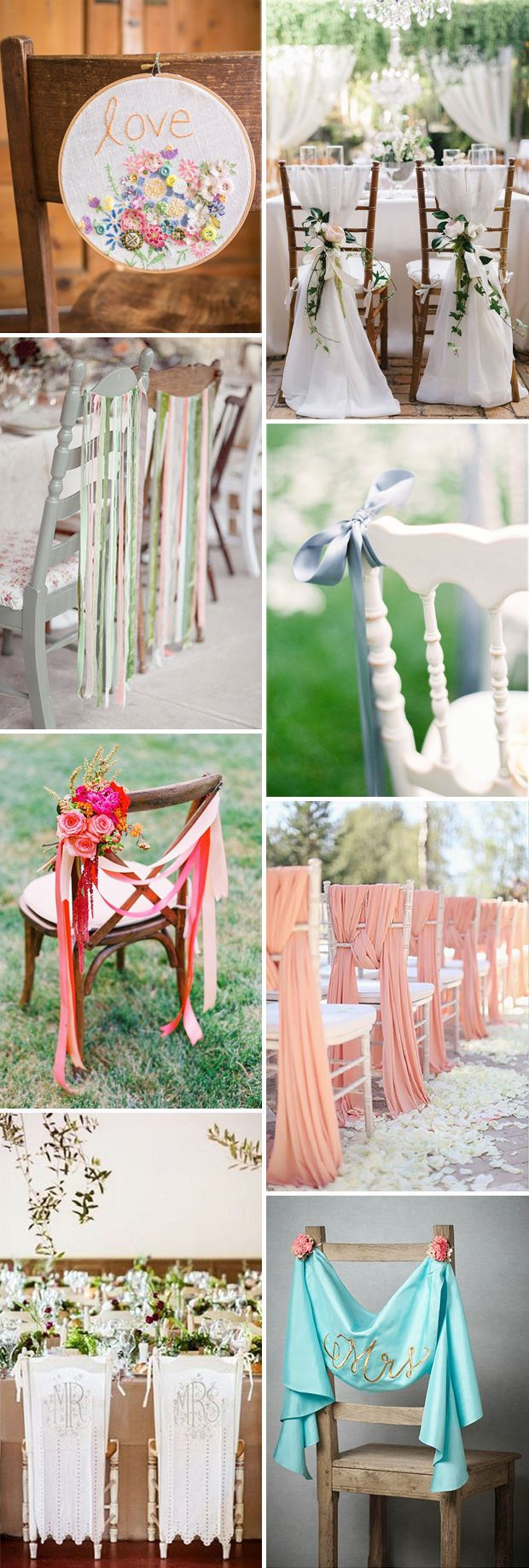 Fabric and ribbon wedding chair decor // see them all on www.onefabday.com