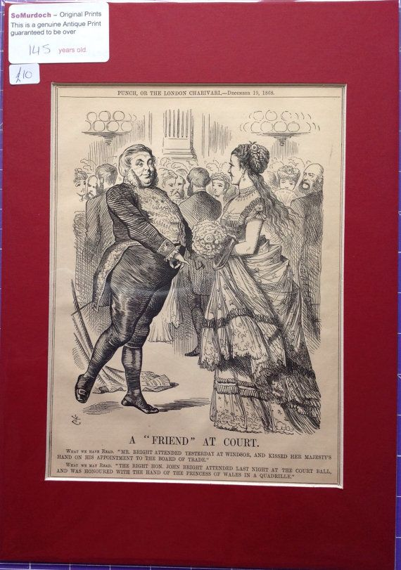 This full-page print (measuring 14 x 10 mounted), is taken from Punch Magazine of December 19th 1868. The illustration is entitled A Friend at Court and is by the acclaimed artist Sir John Tenniel (most famous for his original Alice in Wonderland pictures).