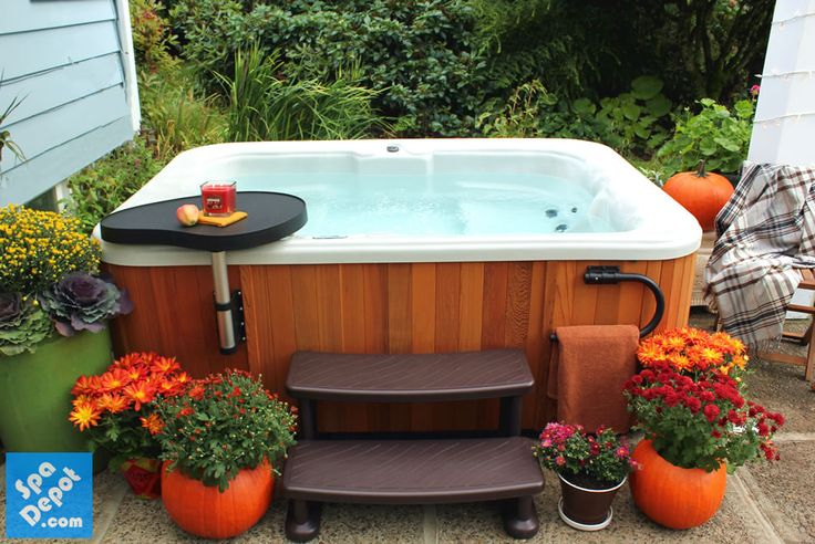 1000 images about out on my deck on pinterest beautiful for Outdoor hot tub decorating ideas