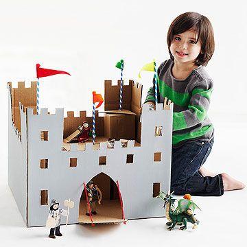 Cute and Easy Cardboard Box Crafts - Cardboard Box Castle #family #fun