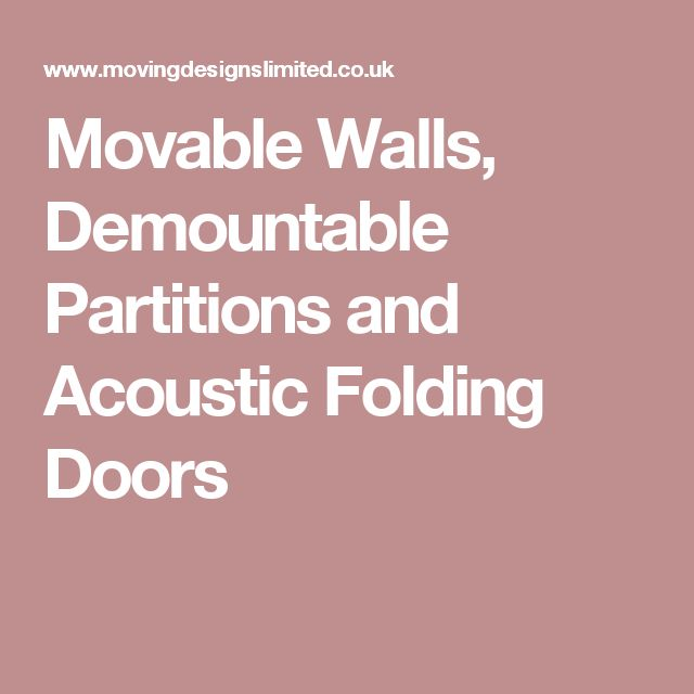 Movable Walls, Demountable Partitions and Acoustic Folding Doors
