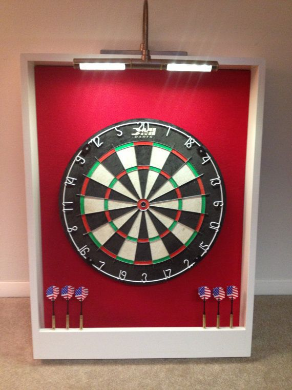 Custom LED LIGHTED Red & White Trim Dart Board Backboard Surround Dartboard Cabinet  w/Professional DMI Staple-Free Sisal Bristle Board