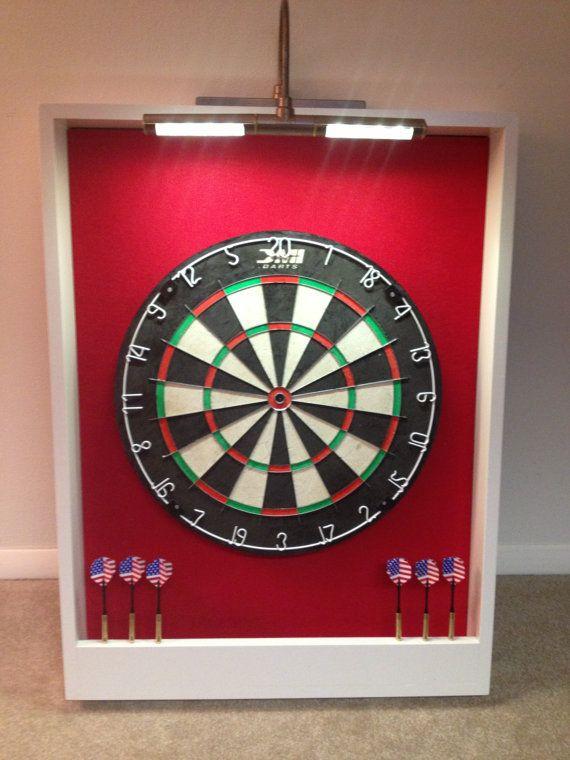 Custom LED LIGHTED Red & White Trim Dart Board Backboard Surround Dartboard Cabinet  w/Professional DMI Staple-Free Sisal Bristle Board