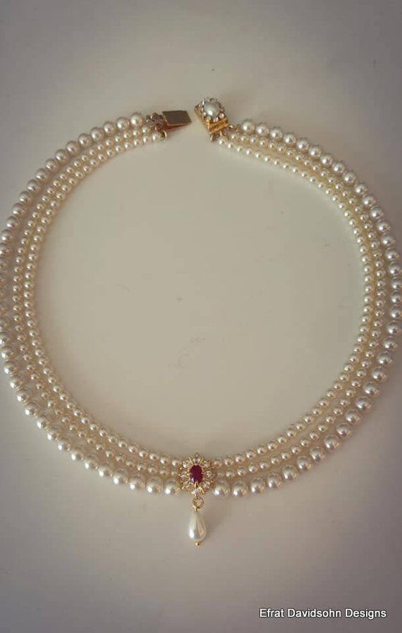 Bridal Necklace Red Ruby Stone Vintage Bridal Pearl Necklace Etsy Pearl Necklace Designs Bridal Necklace Bridal Pearl Necklace