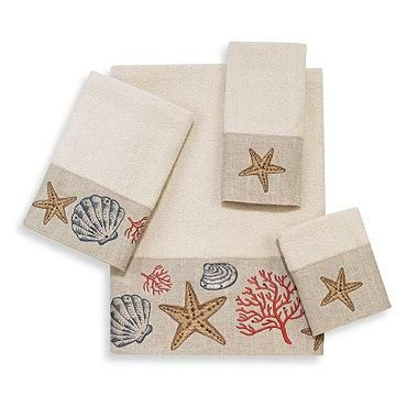 Decorate your bathroom like the perfect sea cottage with the Sea Treasure towel collection. These soft and colorful towels are decorated with beautiful shell and coral embroidery done on a linen-like fabric. Finished with rhinestones for added glitz.